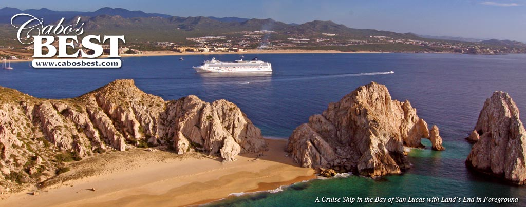 A cruise ship enters the bay of Cabo San Lucas after rounding Land's End