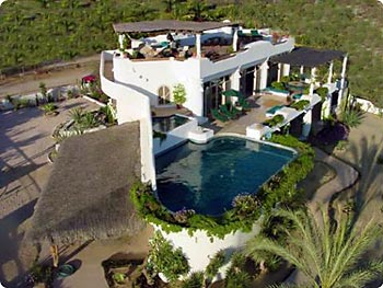 Aerial view of Casa Contenta Bed and Breakfast in Cabo San Lucas