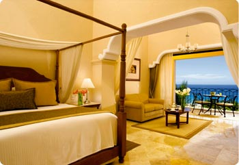 Suites at Dreams Los Cabos include balconies with ocean views.