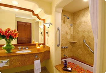 Baths at Dreams Los Cabos have soaking tubs and shower