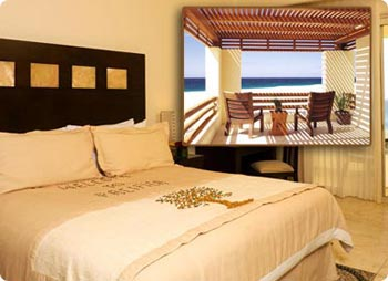Typical suite at Hilton Los Cabos with Ocean-View Balcony
