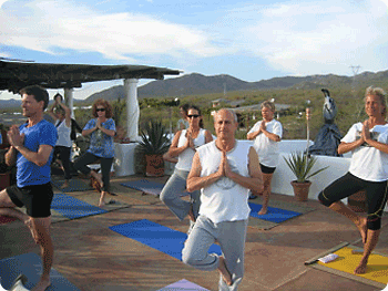 Rooftop yoga session at Cabo Casa Contenta